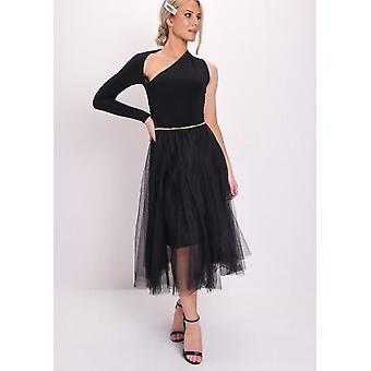 Gold Detail Tulle Mesh Midi Skirt Black
