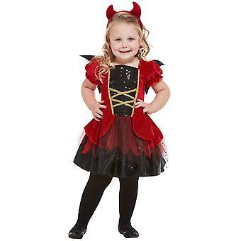 Devil's kostuum voor peuters rood met jurk vleugels en hoofdband Kinder kostuum