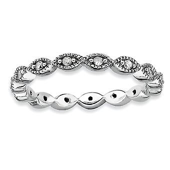 925 Sterling Silver Polished Prong set Patterned Rhodium plated Stackable Expressions Diamond Ring Jewelry Gifts for Wom
