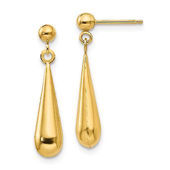 14k זהב צהוב הולו עגילי מלוטש הודעה לקרוע לזרוק לתלות עגילים מדדים 21x4mm תכשיטים מתנות לנשים