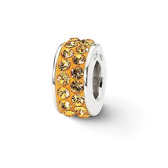 925 Sterling Silver Polished Reflections Orange Double Row Crystal Bead Charm Piny Jewely Gifts for Women