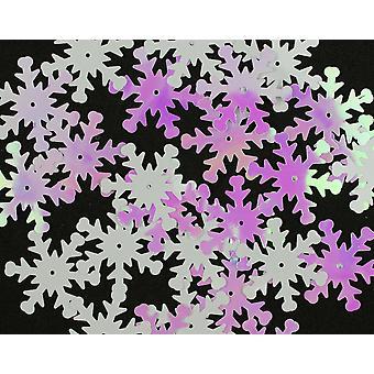 24mm White Iridescent Sequin Snowflakes - 30pk