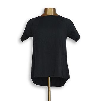 Anybody Women's Top XXS Cozy Knit Short-Sleeve Swing Black A349828