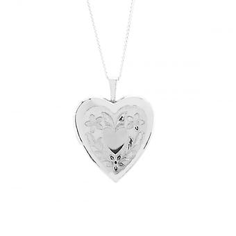 Eternity Sterling Silver Large Heart Gravé Locket Et 18'apos;Apos; Chain