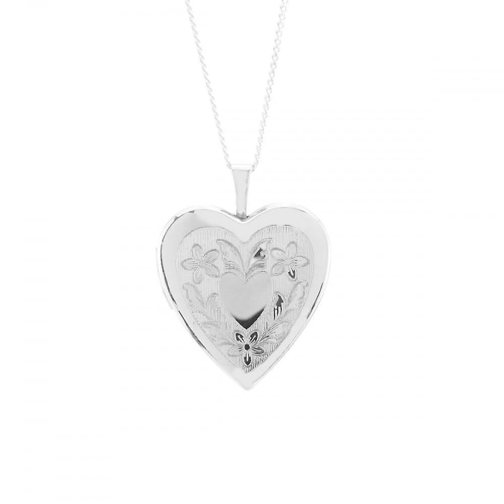 Eternity Sterling Silver Large Heart Engraved Locket And 18'' Chain