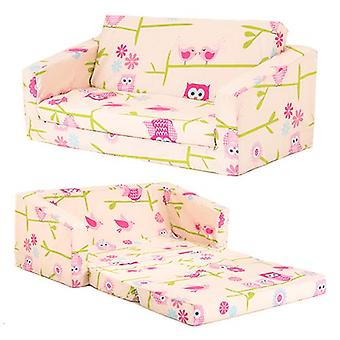 Children's Owls Print 'Lily' Fold Out Foam Sofa Bed
