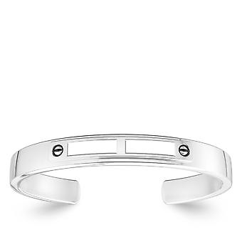 White On White Fashion Cuff Bracelet In Sterling Silver