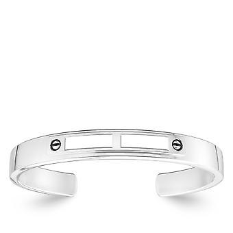 Weiß auf weiß Mode Manschette Armband In Sterling Silber