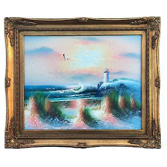 Havet och fyren, oljemålning med ram, 40x50 cm