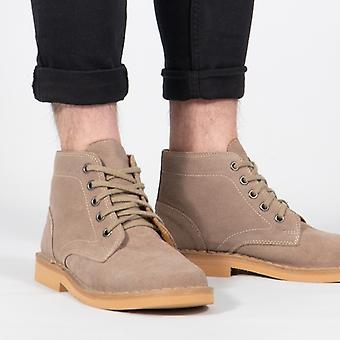 Roamers Mens 5 Eyelet Suede Cuir Desert Boots Taupe