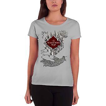 Harry Potter T Shirt Marauders Map Flock print Logo new Official Womens Grey