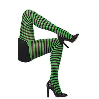 Black & Green Striped Tights Wicked Witch Elf Fancy Dress