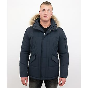 Long Dark Blue Winter Coat - Parka With Fur Collar