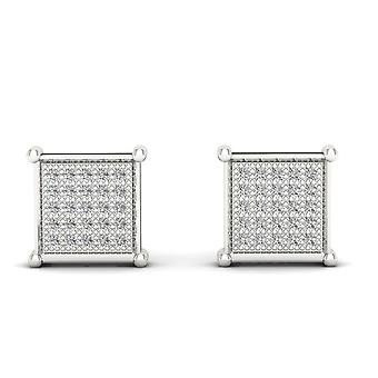 Igi certified 10k white gold 0.85 ct brilliant diamond cluster stud earrings