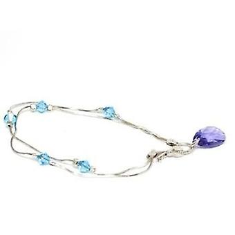 TOC 925 Silver Bracelet, Aqua/Purple Elements Made With Swarovski Crystals