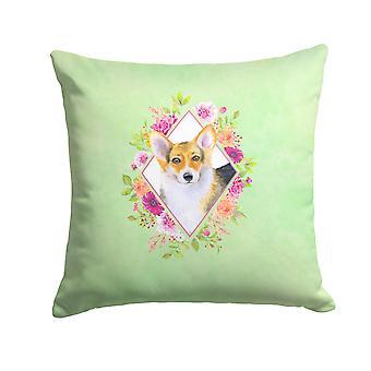 Carolines Treasures  CK4327PW1414 Corgi Green Flowers Fabric Decorative Pillow