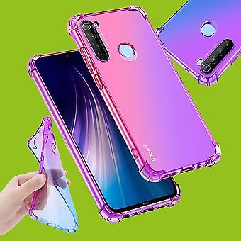 Für Xiaomi Redmi Note 8T Silikoncase TPU Schutz Pink / Lila Tasche Hülle Cover Etui Zubehör Neu