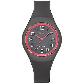 Tekday 654144 lasten Watch-silikoni harmaa ja punainen Bo-tason ranne koru