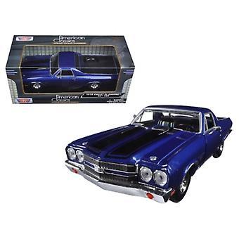 1970 Chevrolet El Camino Ss 396 Blue 1/24 Diecast Model Car By Motormax