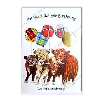 Kirjaillut alkuperäiset Ah Herd sen yer syntymä päivä Highland COO karja ilma pallot kortti