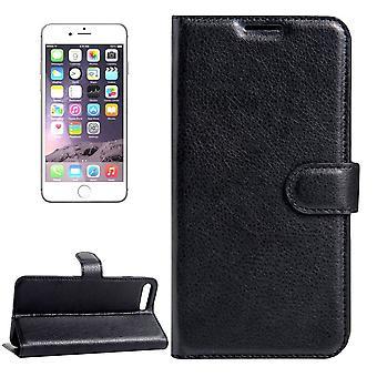 Per iPhone 8,7 Portafoglio Custodia,Elegante coperchio in pelle protettiva di Lychee, nero