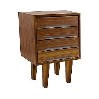 Fusion Living Modern Retro Walnut And Grey Sidetable