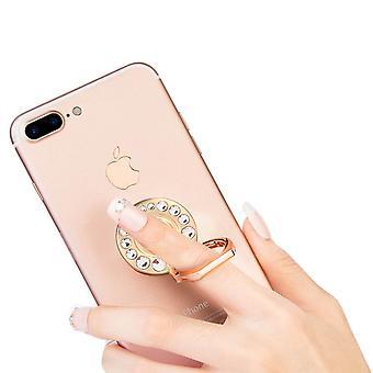 Soporte de anillo de smartphone de metal soporte- Crystall Strass, oro