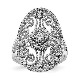 925 Sterling Silber Rhodium vergoldet CZ Zirkonia simuliert Diamant filigranen Ring Schmuck Geschenke für Frauen - Ring Größe