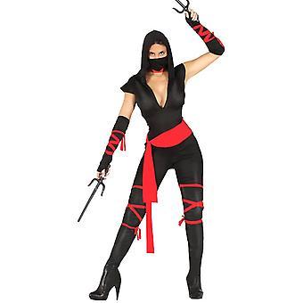 Kvinnors Ninja Kvinna Fancy Dress Kostym Samurai Warrior