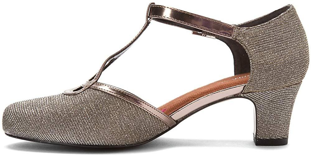 Ros Hommerson Femme Heidi Cuir Toe T-strap Classic, Argent, Taille 7.0
