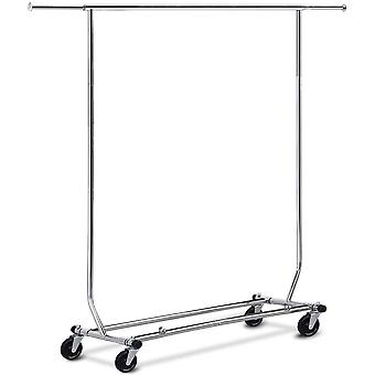 Heavy Duty Hanging Clothes Rail Hanging Garment Clothes Rail Rack with Wheels, Adjustable 130.5-190cm