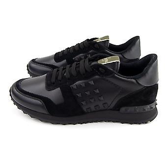 Valentino Kalvskinn Rockstud Sneakers Svart N01