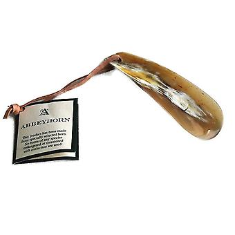 "Abbeyhorn Flat Shoehorn With Leather Thong 4"" in Gift Box"