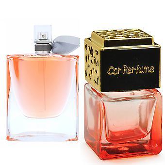 Lancome La Vi Es Belle For Her Inspired Fragrance 8ml Red Bottle Gold Lid Car Air Freshener Vent Clip