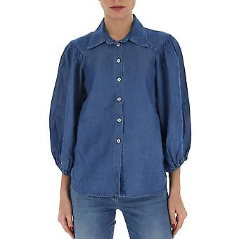 Semi-couture Y0sy33n06 Women's Blue Cotton Shirt