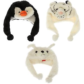 Barnens/ungar djur Design mjuk vintern Trapper mössa med tofsar