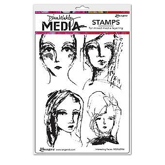 """Dina Wakley Media Cling Briefmarken 6""""X9"""" - Interessante Gesichter"""