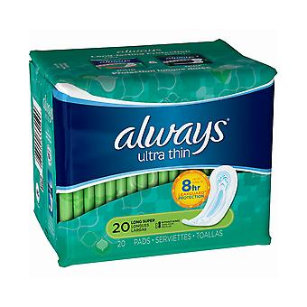 Always Ultra Thin Pads without Wings, Size 2 Long Super, 20 Pads