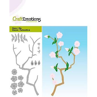 CraftEmotions Die - branch with blossoms Card 5x10cm