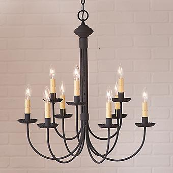 Irvin's Country Tinware 9-Arm Grandview Chandelier with Ecru Sleeves