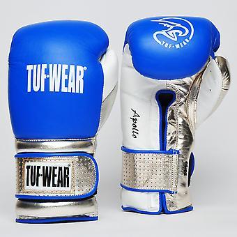 Tuf Wear Apollo Hook et Loop Metallic Leather Sparring Glove Blue / Blanc / Or Rose