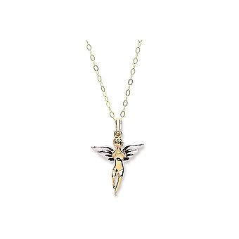 Eternity 9ct 2 Colour Gold Angel Pendant And And 16-quot; Trace Chain