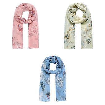Jewelcity Dames/Dames Vlinder en Blossom Print Sjaal