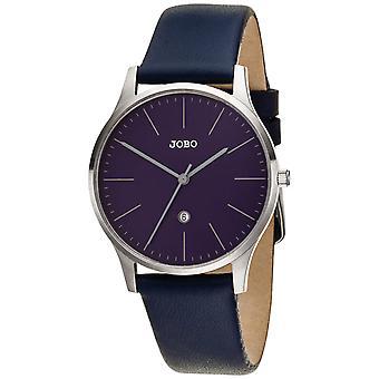 JOBO reloj de mujer cuarzo analógico de acero inoxidable correa de cuero azul fecha reloj de las mujeres