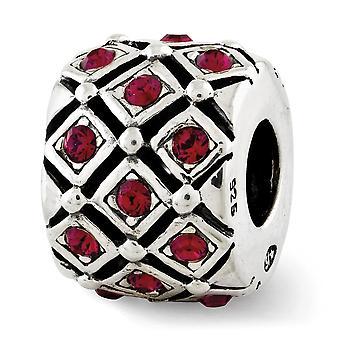 925 Sterling Silver Polerad finish Reflektioner Juli Crystal Bead Charm Hängande Halsband Smycken Gåvor för kvinnor