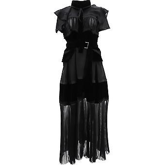 Sacai 20049001 Women's Black Fabric Dress