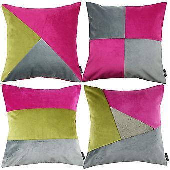 McAlister tekstiilit Patchwork Velvet vaaleanpunainen, vihreä + harmaa tyyny setti