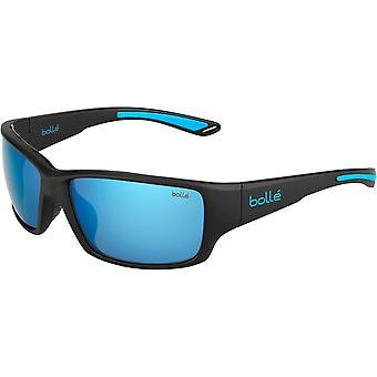 Bolle Kayman Sunglasses (Matt Black Blue Frame Polarized Offshore Blue Oleo AR B20 Lens)