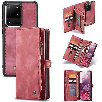 CASEME Samsung Galaxy S20 Ultra retro nahka lompakko tapauksessa - punainen