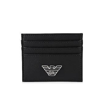 Emporio Armani Branded Leather Black Cardholder